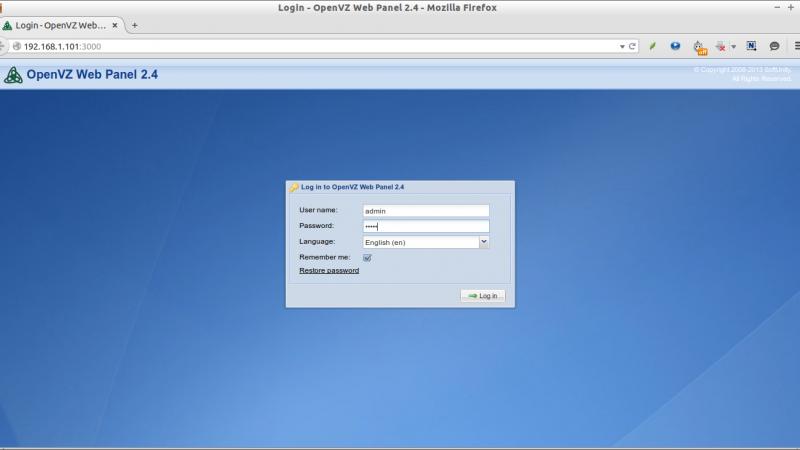 إعادة ضبط كلمة سر لوحة التحكم OpenVZ Web Panel