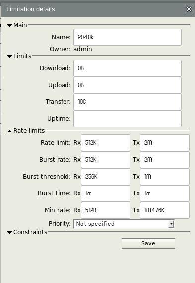 إضافة تحديد سرعة في مدير المستخدمين